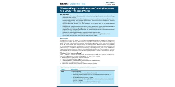 What can Kenya Learn from other Country Responses to a COVID-19 Second Wave?